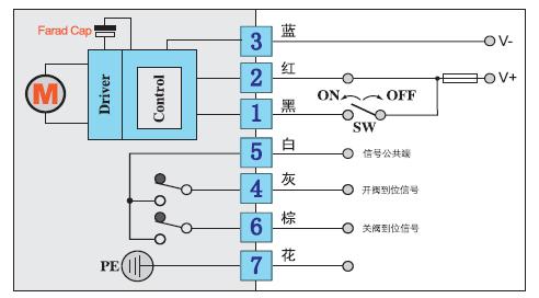 dc24v电动蝶阀-电动球阀控制方式及接线图