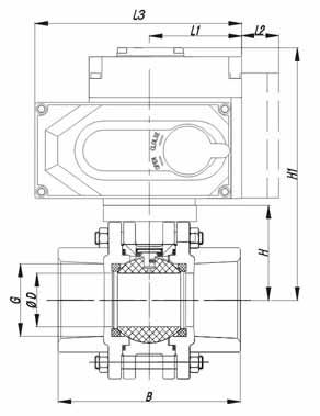 限位开关,定位器,电磁阀,减压阀,手动机构 进口电动三片式球阀结构图图片