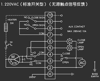 蝶阀接线图(无源触点信号反馈)                   电动阀门接线原理